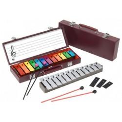 桌上鐘琴 -12鍵 彩虹鍵 木盒裝 附琴槌二付